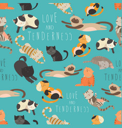 seamless pattern family cats vector image