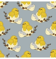 Seamless pattern with chickens in the egg shell vector