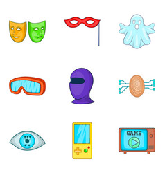 Sense perception icons set cartoon style vector