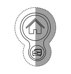 Silhouette home connection server icon vector