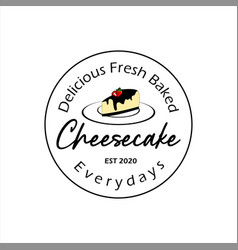 Simple circle stamp label cheesecake bakery vector