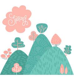 spring or summer landscape background forest on vector image