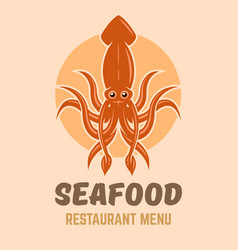 squid logo concept for seafood restaurant menu vector image