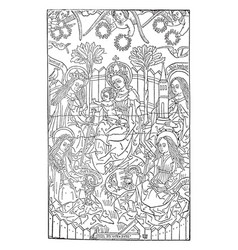 The virgin with four saints in the bibliotheque vector
