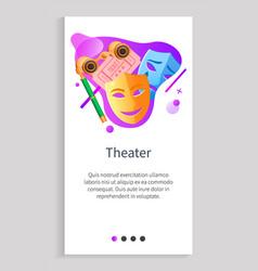 Theater masks and binoculars tickets app slider vector