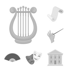 Theatrical art monochrome icons in set collection vector