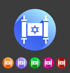 Torah jewish scroll book icon flat web sign symbol vector