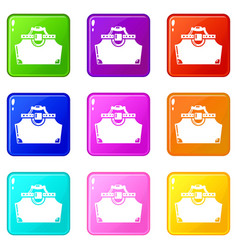Travel bag woman icons set 9 color collection vector