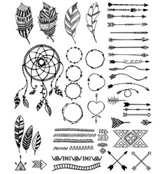 Tribal pack icon set sketch vector