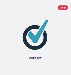 Two color correct icon from user interface vector