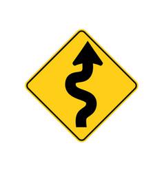 Usa traffic road sign winding road aheadbegins vector