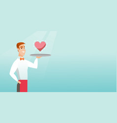 Waiter carrying a tray with a heart vector