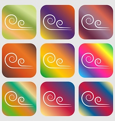 wind icon Nine buttons with bright gradients for vector image