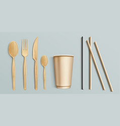 Wooden cutlery paper cup and metal straw vector