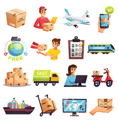 Worldwide shipment delivery icons set vector