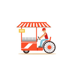 flat street food cart with fast food vector image vector image