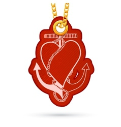 Heart with anchor Label tag hanging on golden vector image