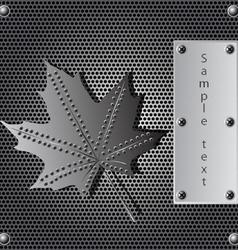 metal shield maple leaf vector image