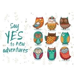 Owl tribal set vector image vector image