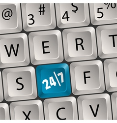 computer keyboard with 24 7 key vector image