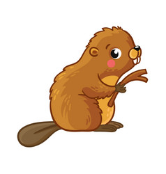 cute young beaver is sitting and holding stick vector image vector image