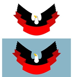 Eagle and red ribbon Bird of prey for symbol vector image