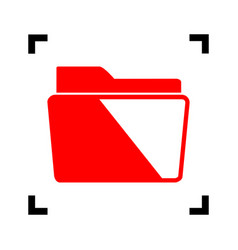 folder sign red icon inside vector image