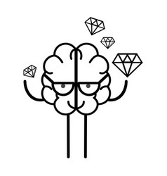 line icon adorable kawaii brain with a lot of vector image vector image