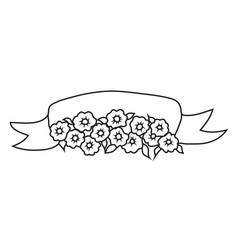 wedding ribbon with flower vector image vector image