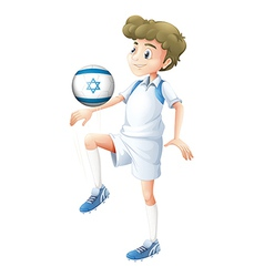 A boy using the ball with the flag of Israel vector image