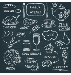 Chalkboard menu elements set 3 vector image