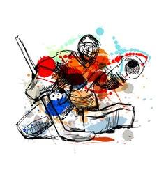 Colored hand sketch hockey goalie vector image vector image