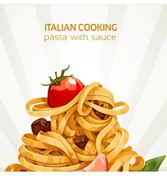 Italian Cooking pasta with sauce banner vector image