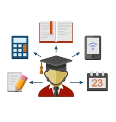 Set of Flat Style Concept Icons for Education vector image vector image