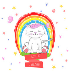cute kitty and inscription little unicorn vector image