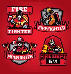 firefighter department badge set vector image