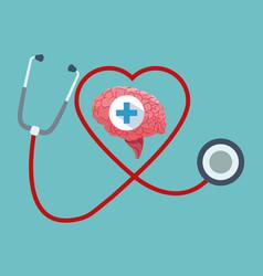 human brain organ stethoscope healthy vector image vector image