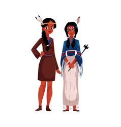 native american indian woman in traditional vector image vector image