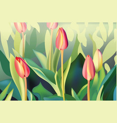 red tulip flowers spring season background vector image