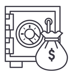 safe bank with money bag line icon sign vector image