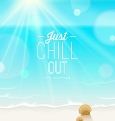 Tranquil scene - sea shore and type design vector image vector image