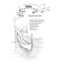 venice ancient buildings and canal with gondola vector image