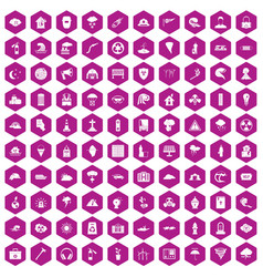 100 disaster icons hexagon violet vector