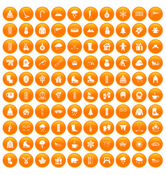 100 winter icons set orange vector
