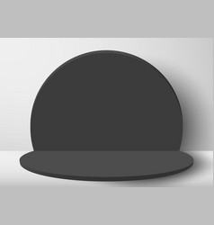 3d realistic black circle round backdrop vector