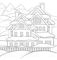 Adult coloring bookpage a cute winter landscape vector