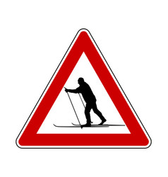 attention sign cross-country skiing vector image