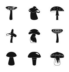autumn mushroom icon set simple style vector image