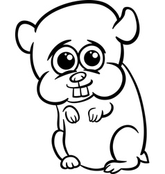 baby hamster cartoon coloring page vector image