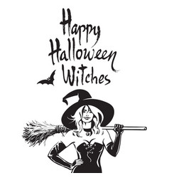 Beautiful sexy witch holding broomstick happy vector
